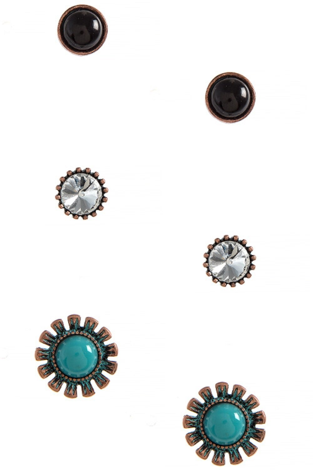 Rustic Southwestern Floral 316L Surgical Steel Earring Set (Copper/Turquoise)