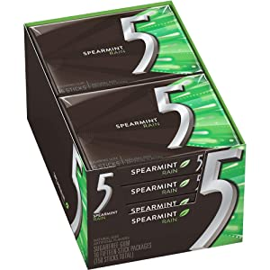 5 Gum Spearmint Rain Sugarfree Gum, 15 piece (10 pack)