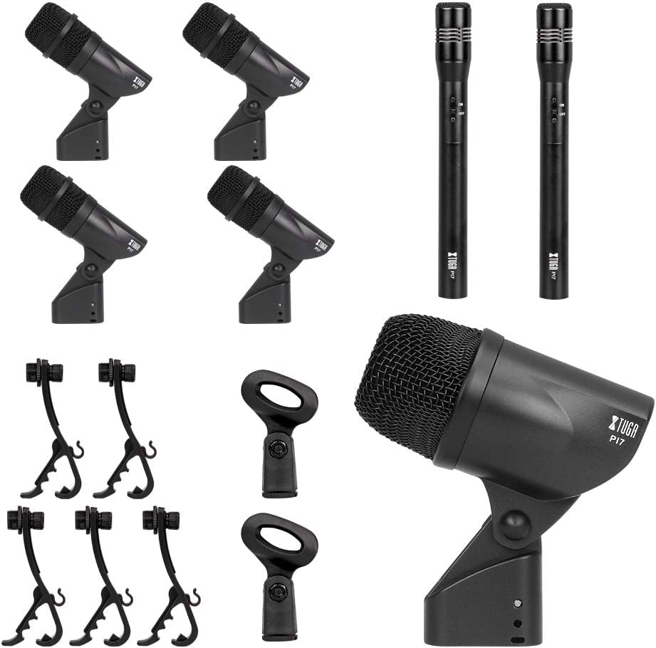 Vocal Other Instrument Complete with Thread Clip Inserts XTUGA PI7 7-Piece Wired Dynamic Drum Mic Kit Metal and Plastic Use For Drums - Kick Bass Tom//Snare /& Cymbals Microphone Set Mics Holder