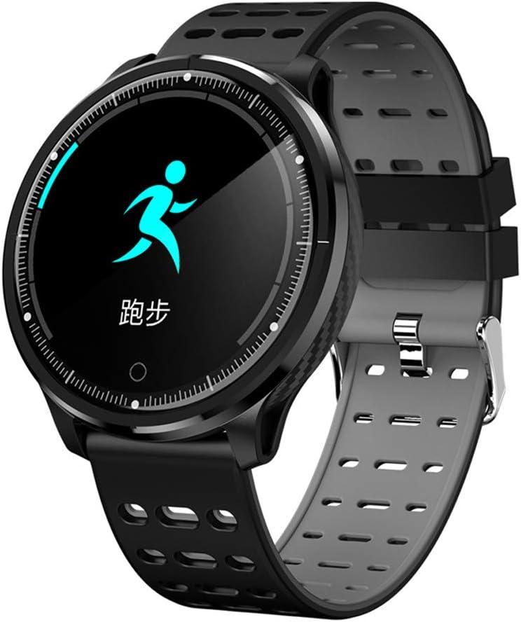 HHRONG 1,3 Reloj Inteligente Redondo de HD, Monitor Impermeable de Forma física de Ip68 con Monitor de frecuencia Cardiaca de sueño, Corriente, elevada y elevada