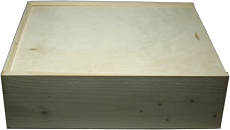 Faba Home - Estuche de regalo de madera para botellas de vino, con tapa deslizante, caja de madera sin tratar, madera, naturaleza, 3 Flaschen: Amazon.es: Hogar