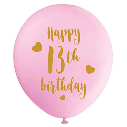 Pink 13th Birthday Latex Balloons 12inch 16pcs Girl Gold Happy Party