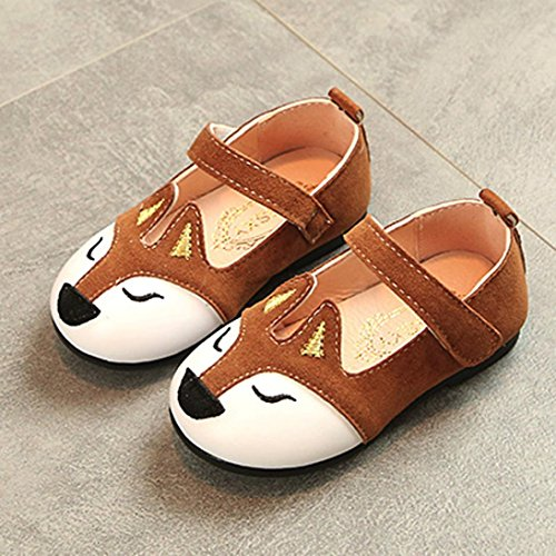 Hemlock 1-6 Years Old Girl Flat Shoes Fox Ballerina Sandals Princess Dress Shoes Baby Soft Sandals (4 years old, Coffee)