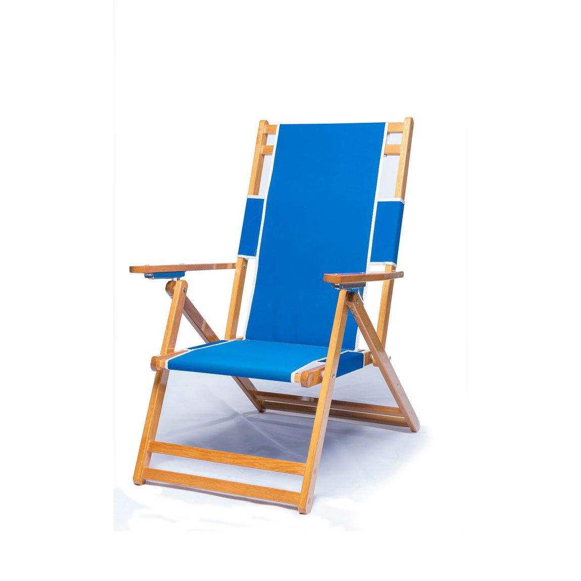 Heavy Duty商用グレードオークウッドビーチ椅子/ Chaise Lounger B01NBFYE0X  ブルー(Pacific Blue) Add Drink Holder / No Foot Rest
