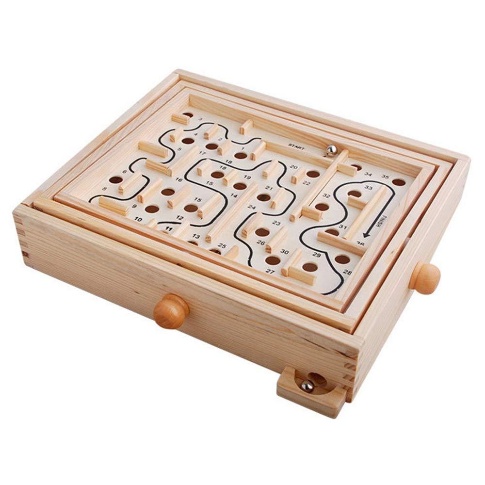 Yishelle Babyspielzeug Holz Labyrinth Tisch Labyrinth Balance Board Tisch Labyrinth Solitaire-Spiel für Kinder und Erwachsene Für Kind Kinder Jungen Mädchen B07MVPFXDB Activity- & Erlebnis-Spielcenter Eleganter Stil   Umweltfreundlich
