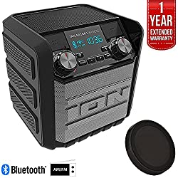 Ion Audio IPA70 Tailgater Express 20W Water-Proof Bluetooth Compact Speaker (Black), Refurbished Deluxe Bundle w/Wireless Phone Charger + 1 Year Extended Warranty