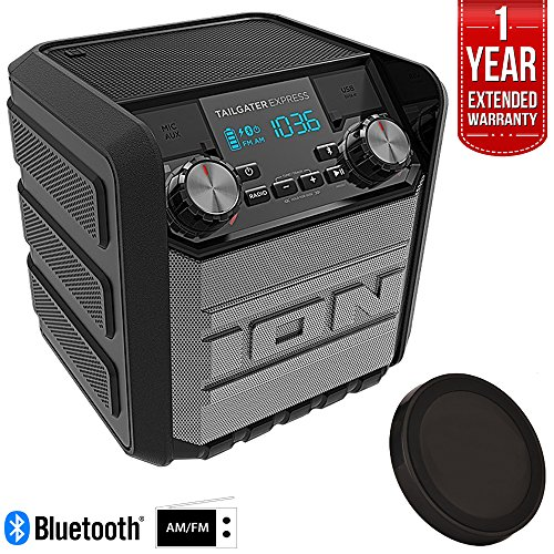 Black Fm Speaker - Ion Audio IPA70 Tailgater Express 20W Water-Proof Bluetooth Compact Speaker (Black), Refurbished Deluxe Bundle w/Wireless Phone Charger + 1 Year Extended Warranty