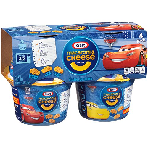 Kraft Cars 3 Shapes Easy Mac Cup 4 Pack, 7.6-Ounce Packages (Pack of 6) - Entree Macaroni