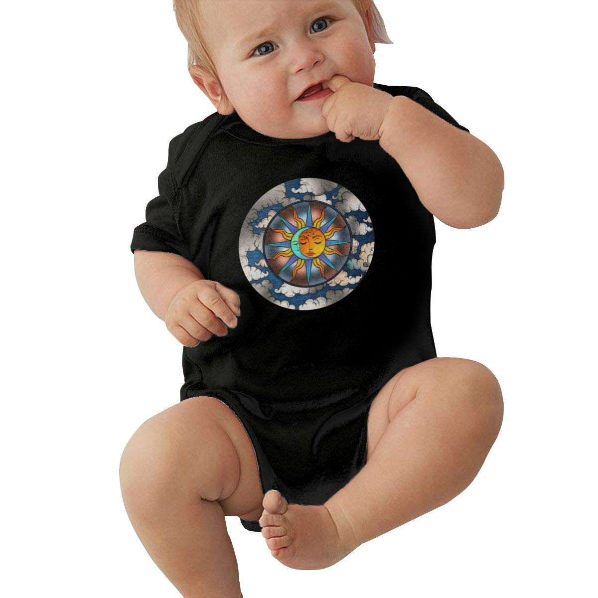 Toddler Baby Girl Boy Sun and Moon BodysuitRomper Jumpsuit Short Sleeved Bodysuit Tops Clothes