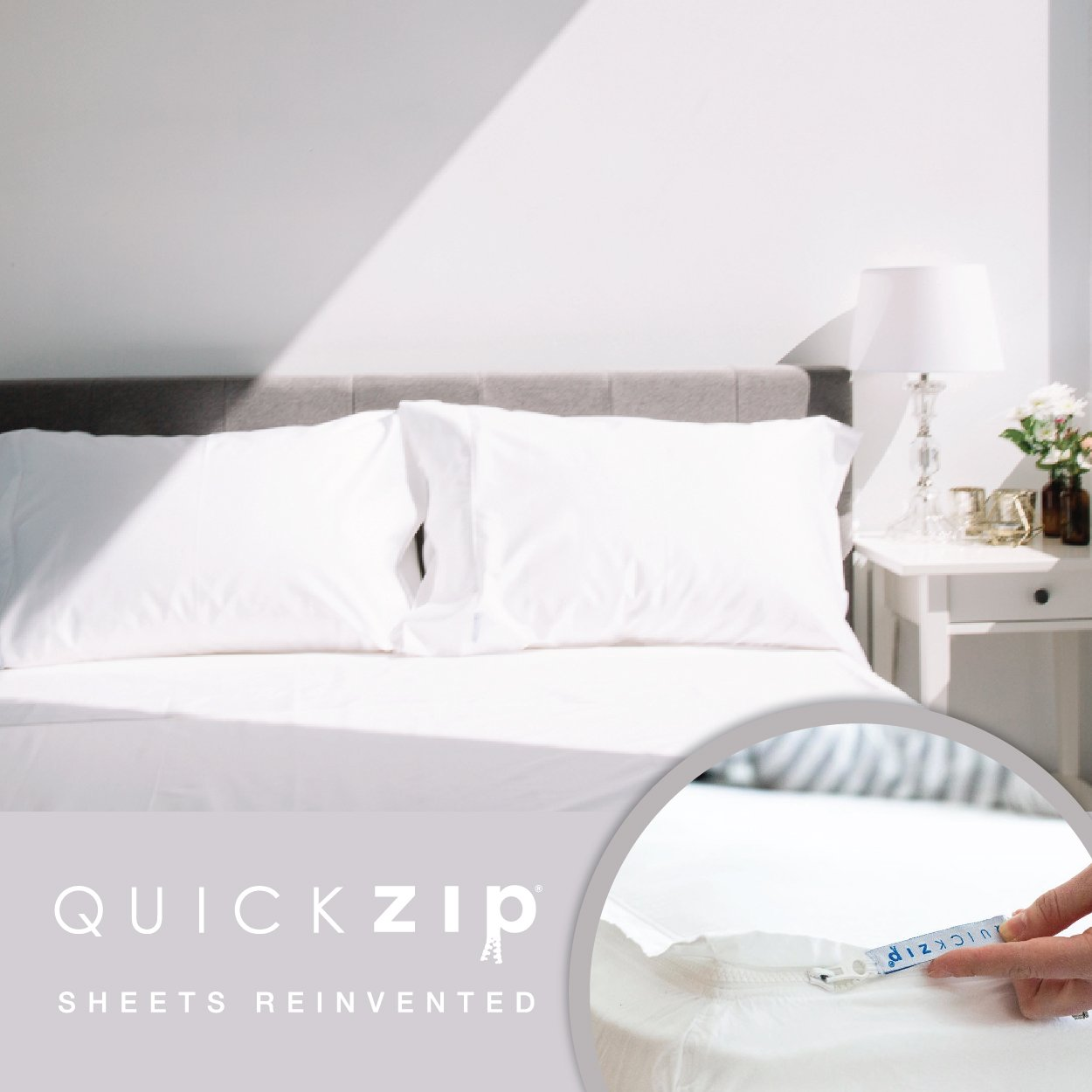 QuickZip 2 Pack, the Fitted Sheet that Won't Pop Off | Easy to Change & Fold | 400-Thread-Count Sateen Cotton, Deep Pockets (15''), White, Queen