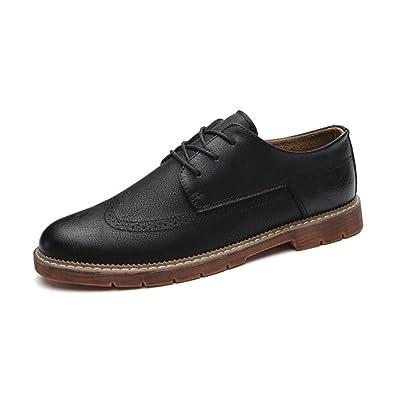 LEDLFIE Chaussures en Cuir pour Hommes Mode Joker Chaussures Décontractées Chaussures en Cuir Respirant Confortable,Brown-38