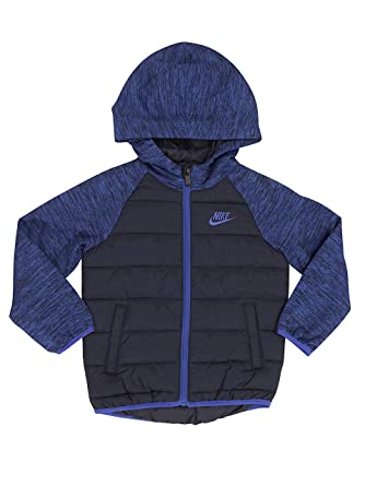 2e210b7094 Nike Little Boy's Quilted Hooded Jacket Coat (4, Obsidian (695) / Heather