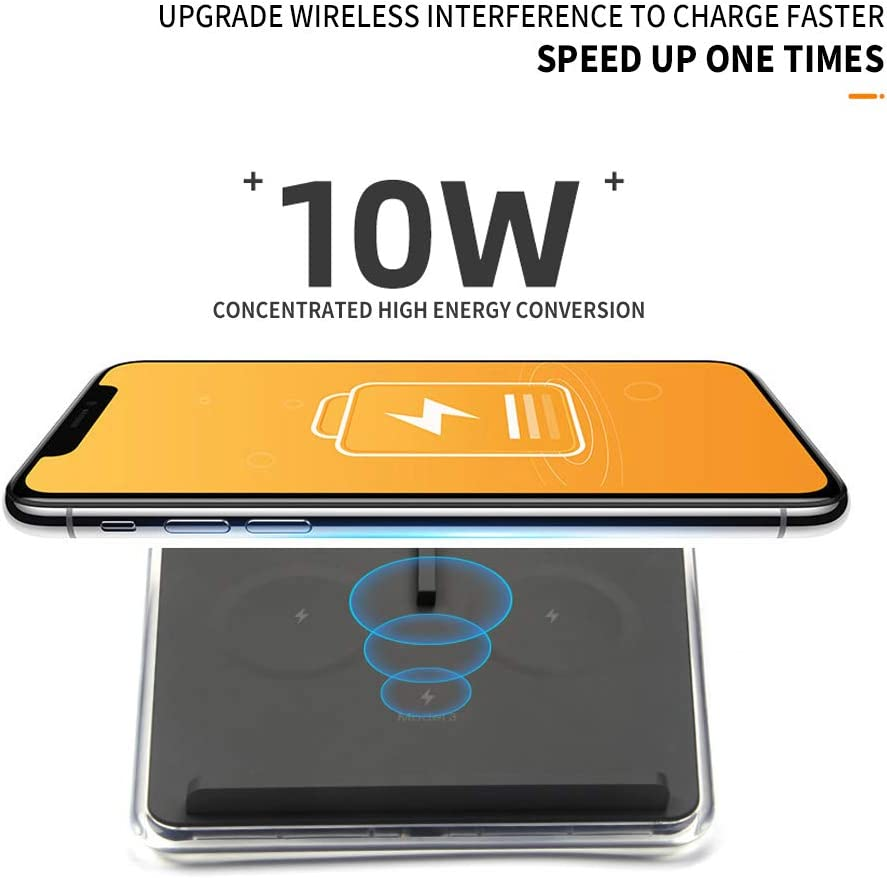Fit for Tesla Model 3 Wireless Charger with Led Light Dual 10W QI Wireless Phone Charging Pad M3 Car Center Console Accessories