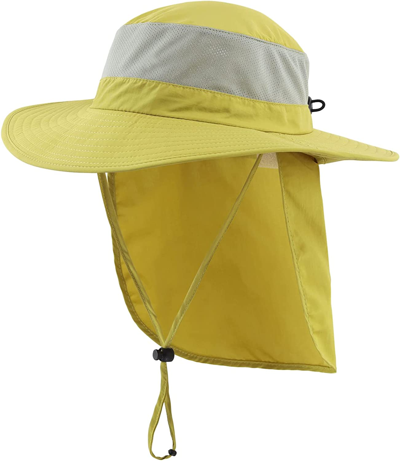 Home Prefer Outdoor UPF50+ Mesh Sun Hat Wide Brim Fishing Hat with Neck Flap