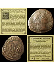 306 IT - 410 AD First Christian Empire ROMAN BRONZE COIN Genuine Ancient Antique from 306-410 AD - Genuine Roman Bronze Coin - Historical Souvenir with Certificate of Authenticity Bronze Good
