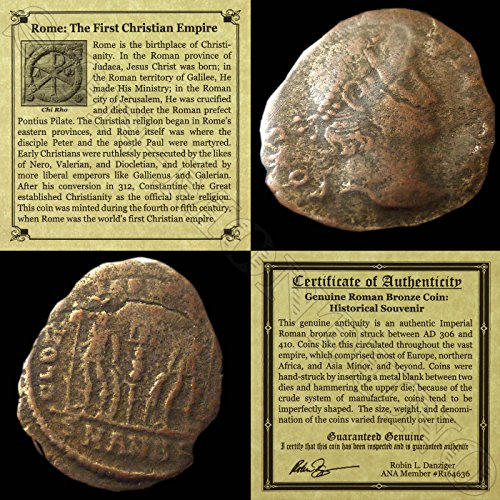(306 IT - 410 AD First Christian Empire ROMAN BRONZE COIN Genuine Ancient Antique from 306-410 AD - Genuine Roman Bronze Coin - Historical Souvenir with Certificate of Authenticity Bronze Good)