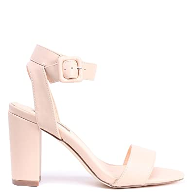 d5d4bd43dc9 Linzi Millie - Nude Nappa Open Toe Block Heel with Ankle Strap and Buckle  Detail  Amazon.co.uk  Shoes   Bags