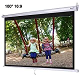 """Instahibit 100"""" 16:9 Manual Pull Down Projection Screen Wall"""