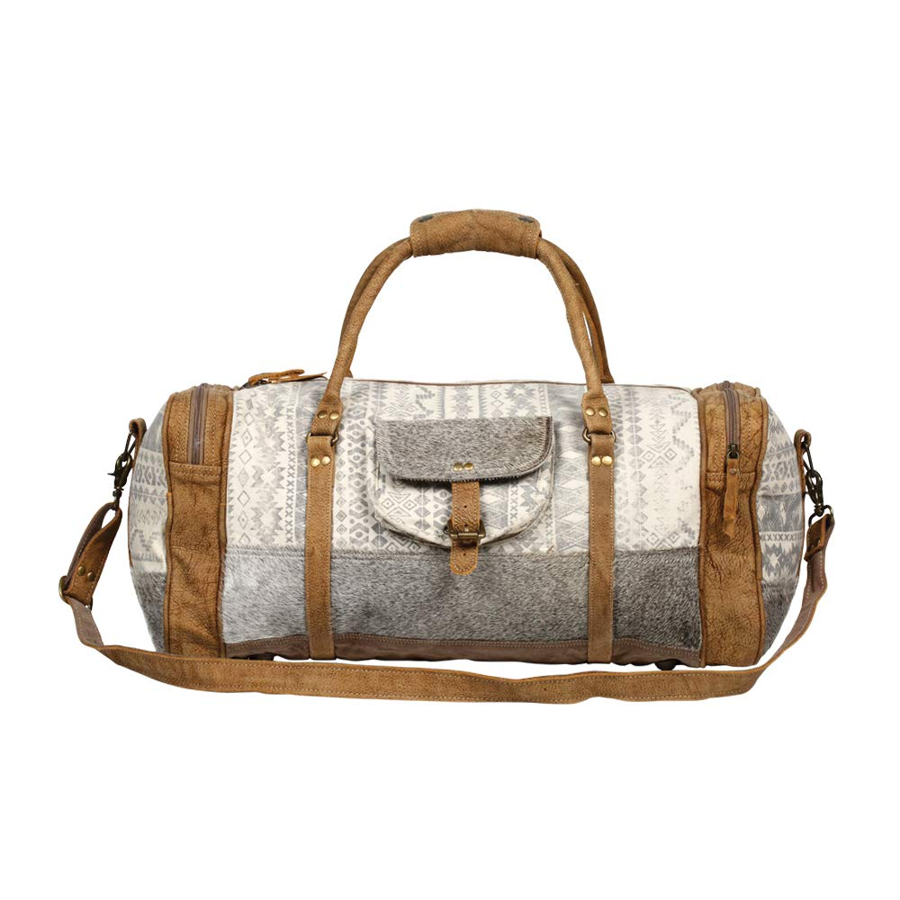 Myra Bag Statement Upcycled Canvas & Cowhide Leather Travel Bag S-1270