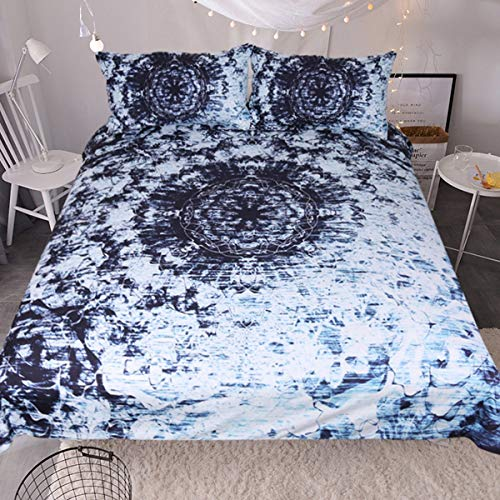 Sleepwish Indigo Blue Tie Dye Ink Bedding Watercolor Mandala Boho Gypsy Bedding Duvet Cover Retro Bed Set (Queen) ()