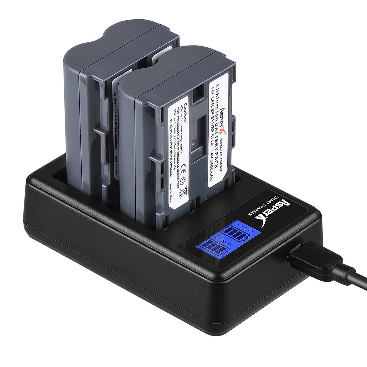 Asperx BP-511 BP-511A Replacement Battery 2 Pack and Rapid Charger for Canon EOS 50D 40D 30D 20Da 20D 10D 5D 300D Digital Rebel D30 D60 PowerShot G6 G5 G3 G2 G1 Pro 1 Pro 90 by AsperX