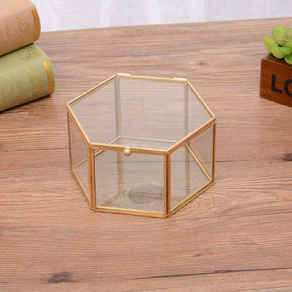 Yardwe Portagioie Hexagon Geometric Ring Box Bomboniera unica Decorazioni per feste Contenitore di gioielli in vetro per gioielli