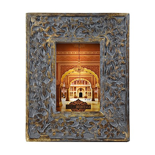 Indian Heritage Wooden Photo Frame 4x6 Mango Wood Carving Design with Grey Distress Finish by Indian Heritage (Image #4)