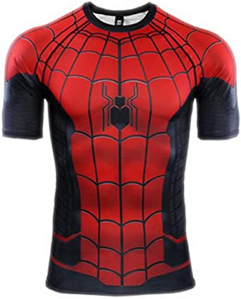 HOOLAZA Avengers Super Heroes Camiseta de compresión de Manga Corta Hombre Fitness Gym At The Shirt