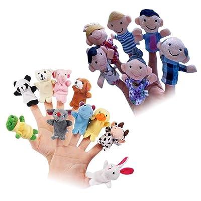 Lxfxin Juego de Juguete 16pcs Finger Puppet Toys Plush Finger Puppets Dolls Hand Toys Family Doll Animal Puppet for Kids Babies Talking Story Favores de Fiesta de cumpleaños Marioneta de Mano: Juguetes y juegos