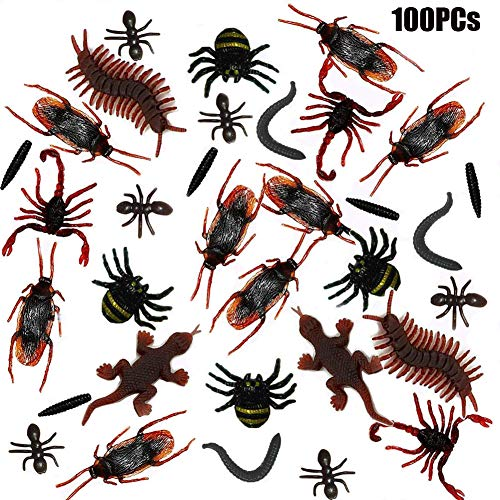 Plastic Realistic Bugs Insects Fake Cockroaches, Spiders, Scorpions, Ants ,Geckoes,Centipedes and Worms for Halloween Party 100Pcs