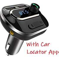 VeeDee Bluetooth FM Transmitter, T19 Radio Adapter Bluetooth Car Kit, 5V/3.1A Dual USB Ports Car Charger, Support TF Card + U Disk, Handsfree Calling
