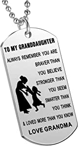 Nimteve Inspirational Gifts Granddaughter from Grandmother Grandfather Always Remember You are Braver Stronger Smarter Girls Jewelry Granddaughters