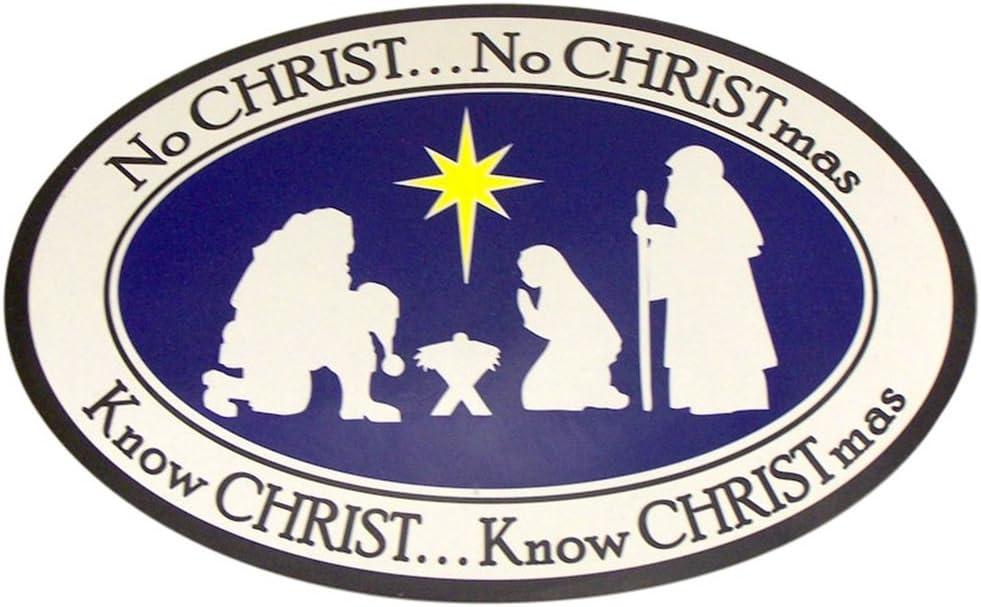 Catholic Brands Nativity Scene No Christ No Christmas Magnet for Refrigerator, 7 Inch