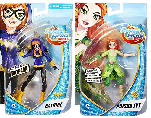 DC Super Hero Girls Poison Ivy Action Doll + Batgirl with Bat Pack Super Hero 6