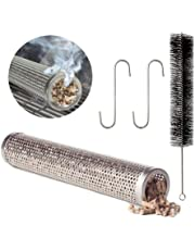 """Pellet Smoker Tube - Aolvo 12"""" Perforated Stainless Steel Cold Smoke Tube 5 Hours of Billowing Smoke for All Grills/Smokers for Smoking Cheese/Fish/ Pork/Beef/ Nut, with 1 Cleaning Brush & 2 Hooks"""