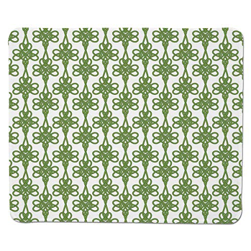SCOCICI Mouse pad - Gaming Mouse pad - Entangled Clover Leaves Twigs Celtic Pattern Botanical Filigree Inspired Retro T Professional Control Gaming Mouse Pad Locking Edge Game Mat 11.8x9.8x0.1 inch