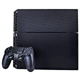 T&B PS4 Console Full Pattern Decals Skin Vinyl Sticker Faceplates( Console Skin X 1 + Controller Skin X 2 )Carbon Fiber Black
