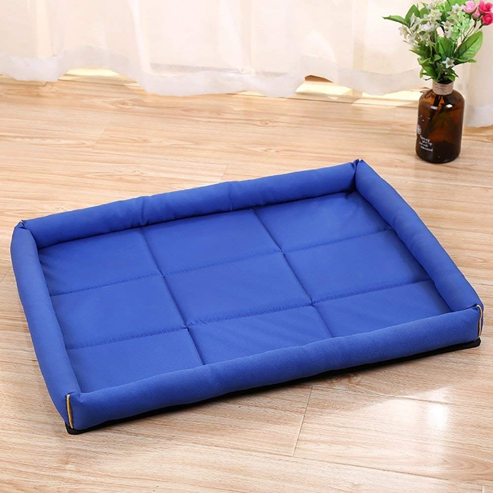 Kennel Pads Dog Beds Pet Bed Blankets Waterproof Cushion Rectangular Open-air Pet Nest Square Large Dog Bed Cat Mat (color   Dark bluee, Size   56x46cm) Cat Bed Pet Supplies Cover
