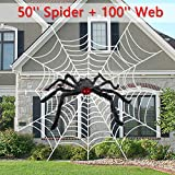 2pcs Spider Web Halloween Spider Decorations Calans Halloween Spider Web 100 Inches Giant Spider 50 Inches Best Scary Halloween Decorations for Indoor Outdoor Yard Wall Bar