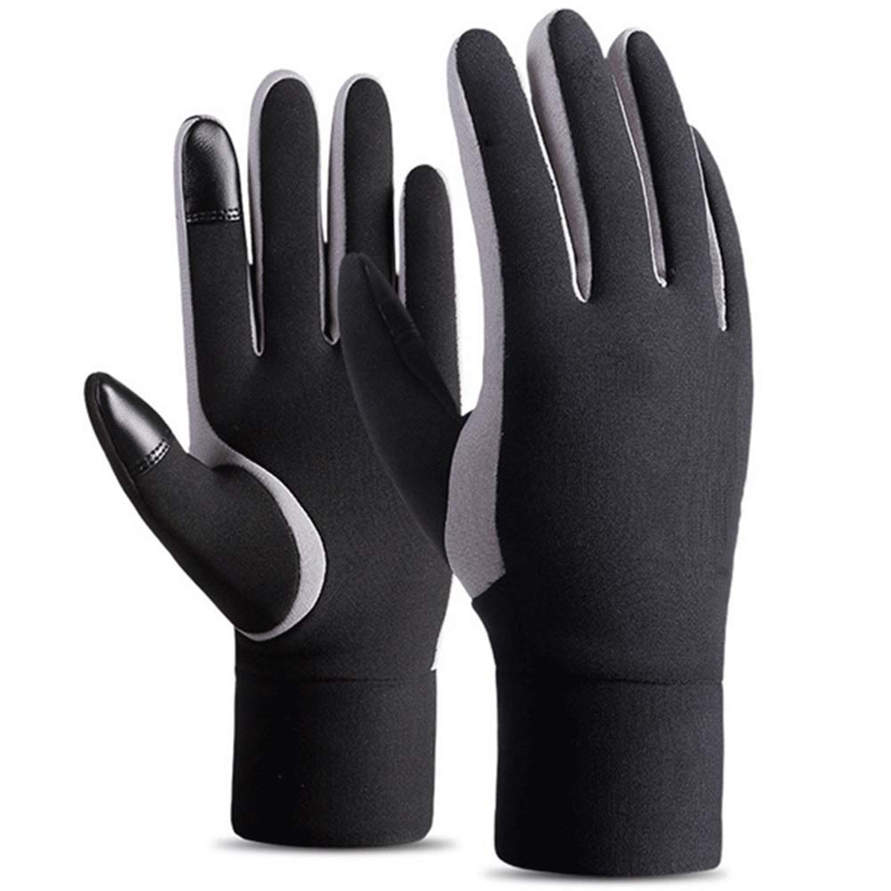 GLJJQMY Winter Motorcycle Gloves Men's Waterproof and Windproof Warm Gloves Athletes Touch Screen Gloves, Black Glove (Size : M)