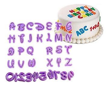 Juego de 36 moldes para tartas con número de letra, para fondant, azúcar, galletas: Amazon.es: Hogar