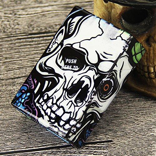 Single Sided Cigarette Case Holds - NACHEN Plastic Cigarette Case Skull Design with Automatic Cover Cigarette Holder Box Holds 20 Cigarettes,Color3,95X62x28mm