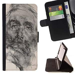 Momo Phone Case / Flip Funda de Cuero Case Cover - Dessin au crayon Portrait Old Man - Sony Xperia M4 Aqua