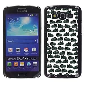 Caucho caso de Shell duro de la cubierta de accesorios de protección BY RAYDREAMMM - Samsung Galaxy Grand 2 SM-G7102 SM-G7105 - Black Cats Wallpaper Drawing