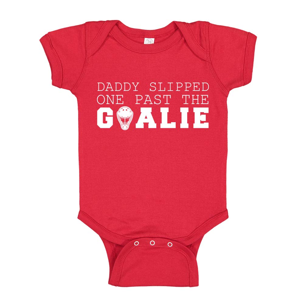 Daddy Slipped One Past The Goalie Hockey Baby Bodysuit Infant One Piece or Toddler T-Shirt