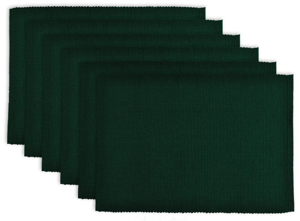 DII 100% Cotton, Ribbed 13x 19 Everyday Basic Placemat Set of 6, Dark Green
