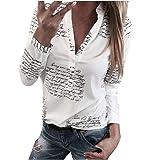 Blusas Mujer Primavera 2020 Fossen Botones de Mujer con Cuello en V Botón de Impresión Camiseta de Manga Larga Tops…