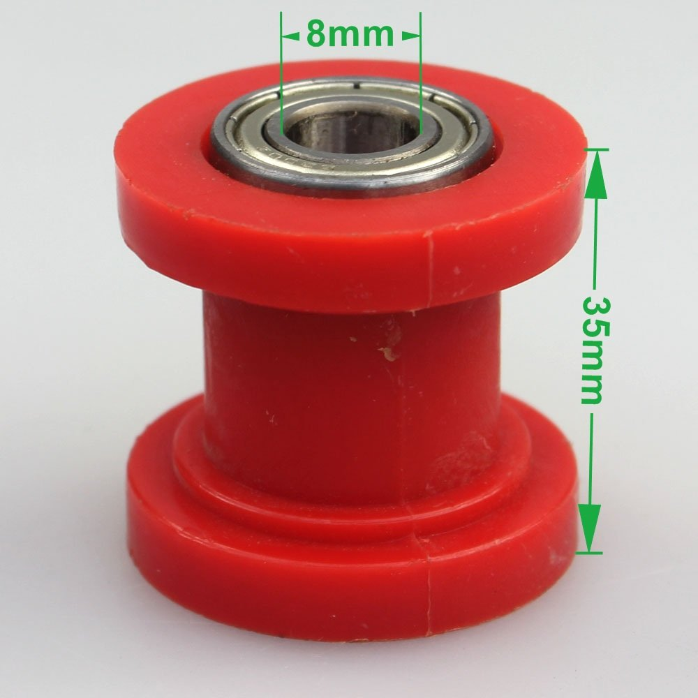White Wingsmoto Chain Roller 8mm ID Tensioner Guide Wheel Chinese Dirtbike Pit Bike Motocycle