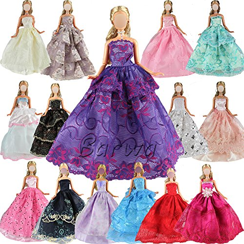 Barwa 5 Pcs Handmade Fashion Wedding Party Gown Dresses  Clothes for Barbie Doll Xmas Gift