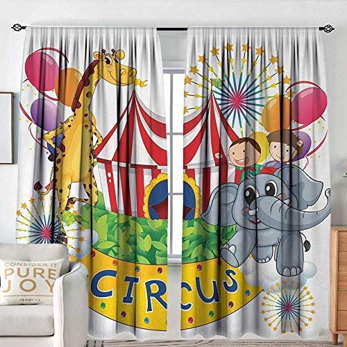 - Petpany Bedroom Blackout Curtain Panels Circus Decor,Circus Show with Kids and Animals Smiling Magician Children Happiness,Multicolor,All Season Thermal Insulated Solid Room Drapes 84